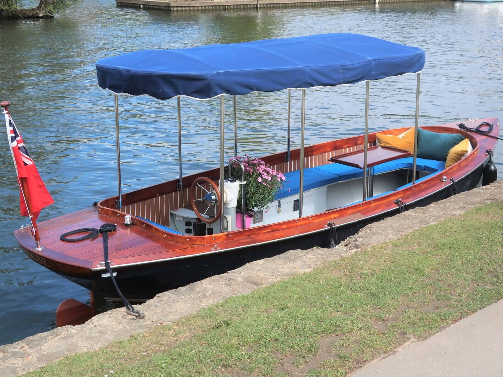 Edwardian-style electric boat for hire in Henley-on-Thames